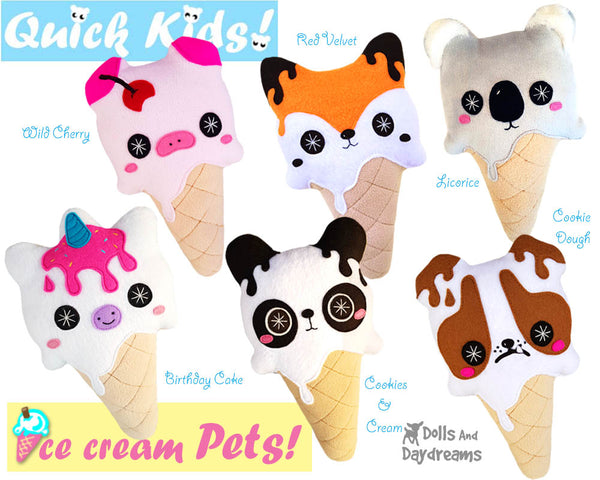 Quick Kids Ice Cream Pets Sewing Pattern Pack 1 plush diy pdf kawaii soft toys by dolls and daydreams