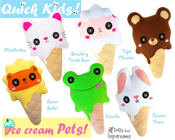 Quick Kids Ice Cream Pets Sewing Pattern Pack 2 plush diy pdf kawaii soft toys