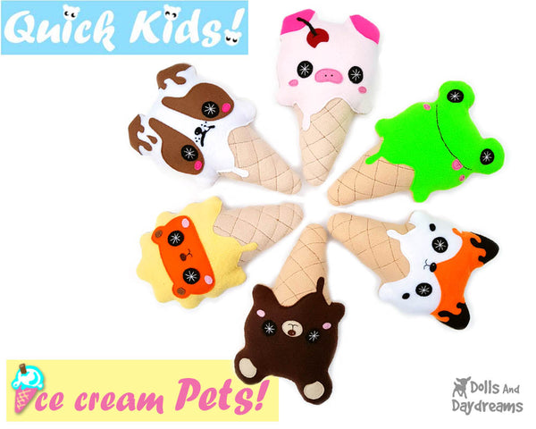 Kawaii cute Ice Cream Sewing Pattern PDF  plush diy by Dolls and Daydreams