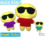 ITH Quick Kids Shades Emoji Doll Plush Pattern DIY Machine Embroidery In The Hoop Toy