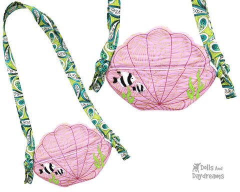 Seashell PDF Tiny Shell Tote Sewing Pattern by Dolls And Daydreams DIY cross body little kids mermaid doll bag