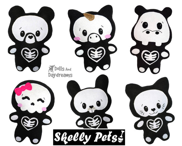 Quick Kids Skelly Pets Sewing Pattern soft toy easy sew by Dolls and Daydreams