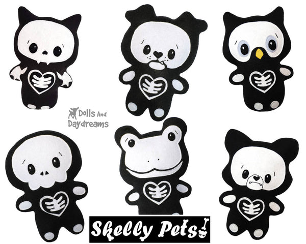 Quick Kids Skelly Pets Sewing Pattern Pack 2 soft toy easy sew by Dolls and Daydreams
