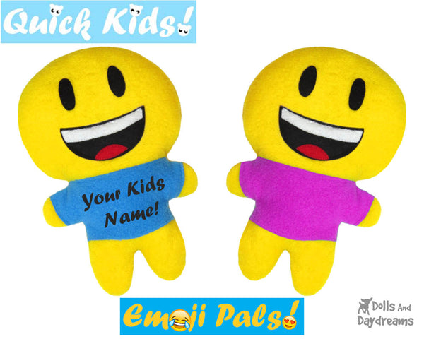 Quick Kids Smile Emoji Sewing Pattern by Dolls And Daydreams Easy DIY Soft Toy plushie