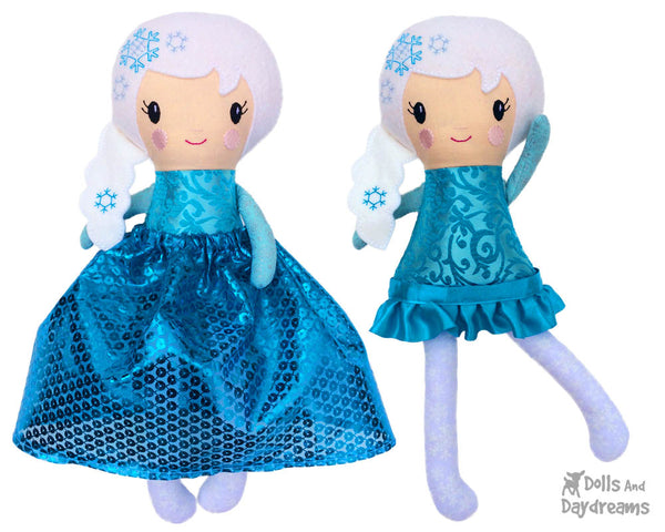 ITH Snow Winter doll Queen Doll Pattern by Dolls And Daydreams
