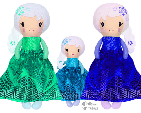 ITH Snow Winter doll Queen Doll Pattern by Dolls And Daydreams DIY Machine Embroidery