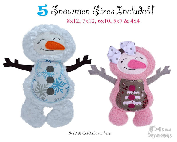 Embroidery Machine Snowman ITH Pattern - Dolls And Daydreams - 3