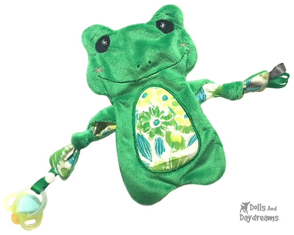Neutral Baby Frog  Lovie Blanket Cute Plush Toy  Machine Embroidery In The Hoop Pattern Set by dolls and daydreams DIY Baby Shower Gift