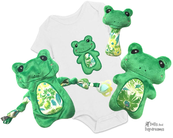 Babys 1st Plush Toy Frog Machine Embroidery In The Hoop Pattern Set by dolls and daydreams DIY Baby Shower Gift