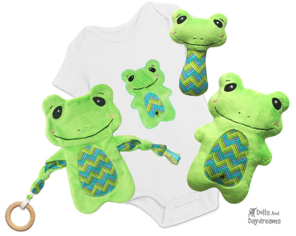 Frog Neutral Baby Lovie Blanket, Plush Toy, Rattle & Applique Plush Set Sewing Patterns by dolls and daydreams