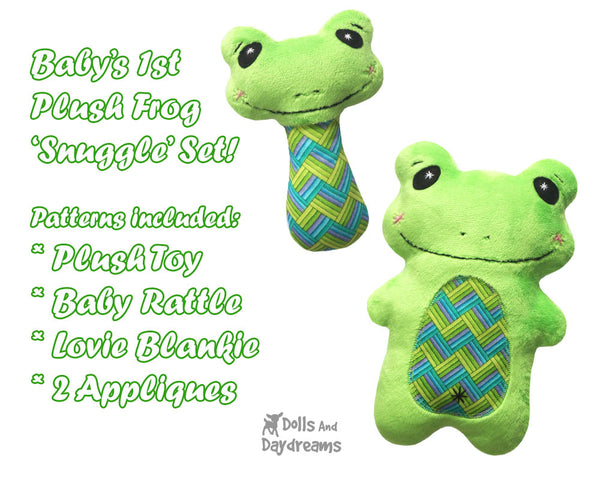 Kawaii cute Frog Neutral Baby Lovie Blanket, Plush Toy, Rattle & Applique Plush Set Sewing Patterns by dolls and daydreams