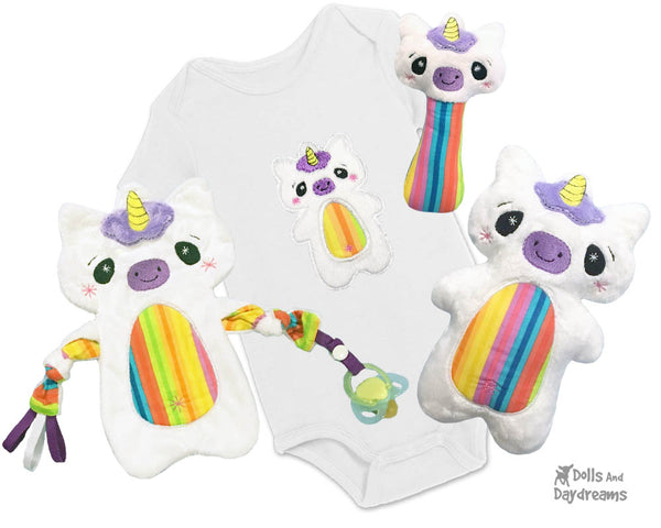 Babys 1st Plush Toy Unicorn Snuggle Machine Embroidery In The Hoop Pattern Set by dolls and daydreams DIY Baby Shower Gift