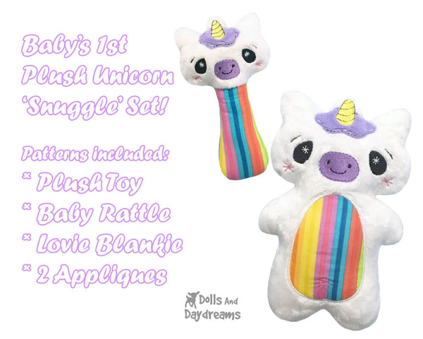 Babys Unicorn Snuggle Machine Embroidery In The Hoop Pattern Set by dolls and daydreams DIY plush toy rattle blamkie lovie  Baby Shower stuffie softie Gift