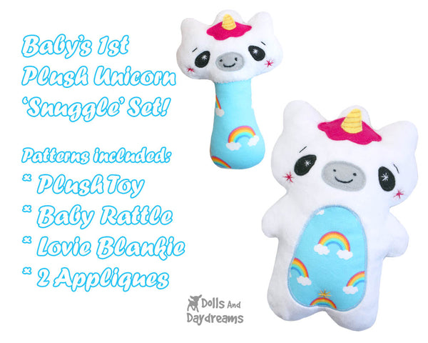 Babys 1st Plush Toy Unicorn Snuggle PDF Sewing Pattern Set by dolls and daydreams rattle plush DIY Baby Shower Gift