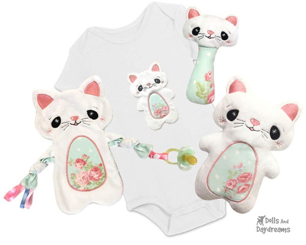Babys 1st Plush Toy Cat Kitten Kitty Snuggle Machine Embroidery In The Hoop Pattern Set by dolls and daydreams DIY Baby Shower Gift