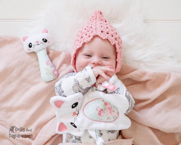 kitty cat kitten Baby Lovie Blanket Plush Toy Rattle  & Applique Plush Set PDF Sewing Patterns by dolls and daydreams DIY lovie blankie