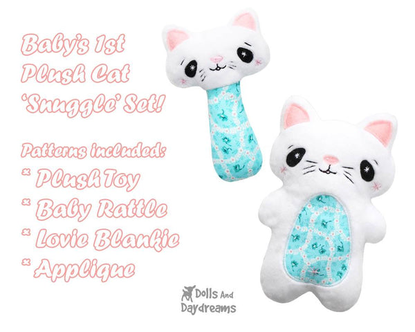 cat kitten Baby Lovie Blanket Plush Toy Rattle  & Applique Plush Set PDF Sewing Patterns by dolls and daydreams DIY blankie