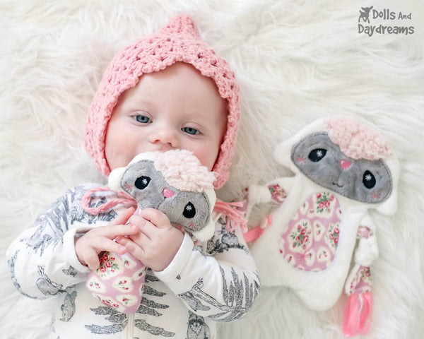 Plush Toy Lamb Snuggle PDF Sewing Pattern Set by dolls and daydreams  Baby Shower Gift