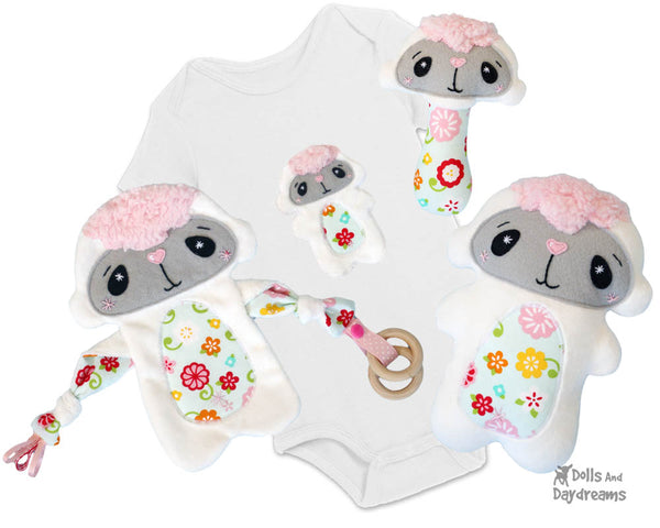Babys 1st Plush Toy Lamb Snuggle PDF Sewing Pattern Set by dolls and daydreams DIY Baby Shower Gift