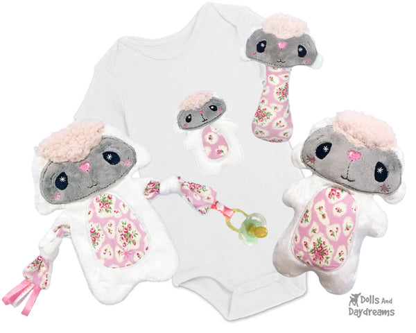 Babys 1st Plush Toy Lamb Snuggle Machine Embroidery In The Hoop Pattern Set by dolls and daydreams DIY Baby Shower Gift