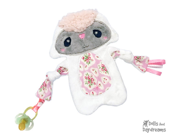 Plush Toy Lamb sheep Lovie Blanket Snuggle Machine Embroidery In The Hoop Pattern by dolls and daydreams DIY Baby Shower Gift