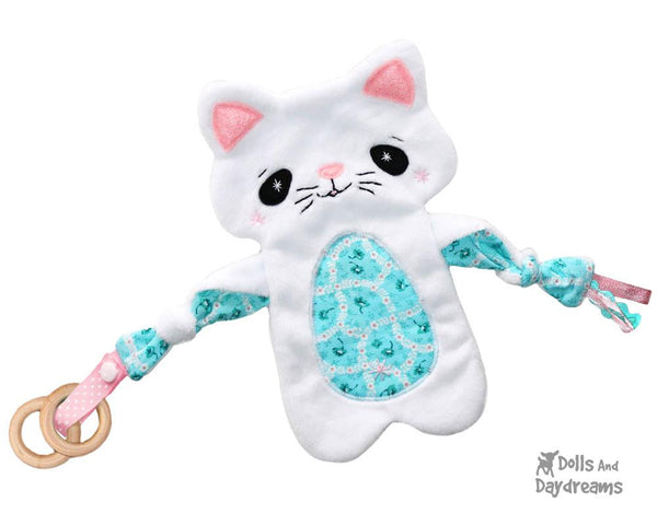 kitty cat kitten Baby Lovie Blanket Plush Toy Rattle  & Applique Plush Set PDF Sewing Patterns by dolls and daydreams DIY lovie blankie shower gift