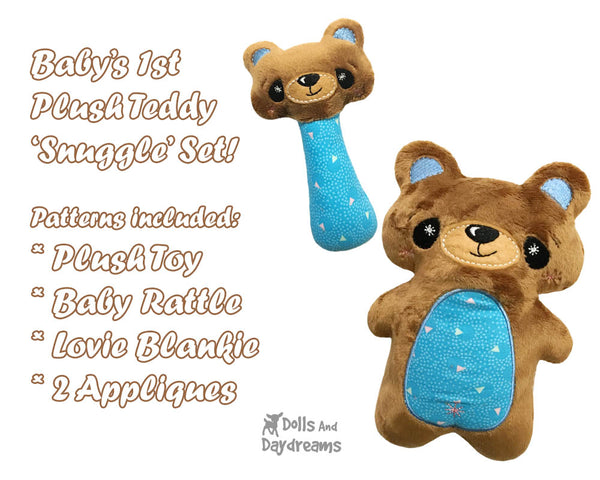 Babys 1st Plush Toy Teddy Bear Snuggle Machine Embroidery In The Hoop Pattern Set by dolls and daydreams DIY Baby Shower Gift