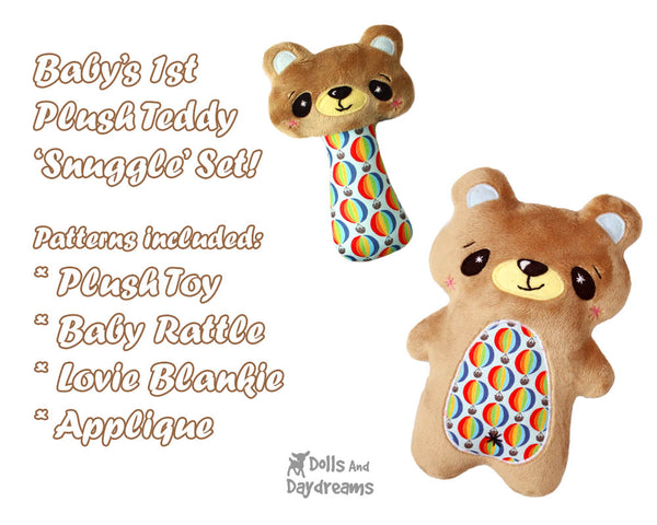 Teddy bear Baby Lovie Blanket Plush Toy Rattle  & Applique Plush Set PDF Sewing Patterns by dolls and daydreams DIY shower gift