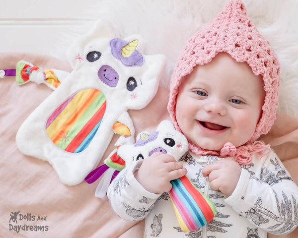 Babys 1st Plush Toy Unicorn Snuggle PDF Sewing Pattern Set by dolls and daydreams rattle blanket DIY Baby Shower Gift
