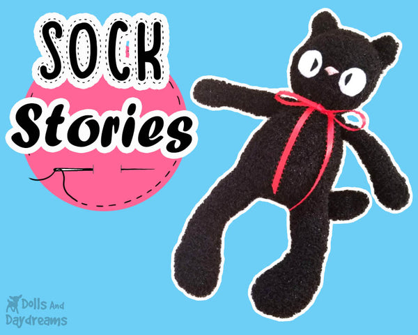 Sock Stories | DIY Black Cat Plush for Halloween or Studio Ghibli's Jiji Tutorial by dolls and daydreams