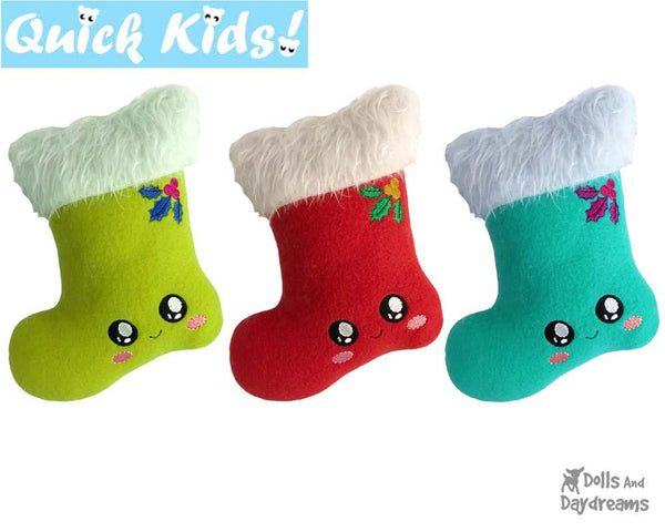In The Hoop Quick Kids Christmas Stocking Machine Embroidery Pattern by Dolls And Daydreams DIY Xmas Softie Easy Kawaii Plush