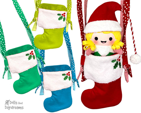 In The Hoop Machine Embroidery Christmas Stocking Tote Doll Bag Pattern by Dolls And Daydreams ITH DIY bag sock doll carrier