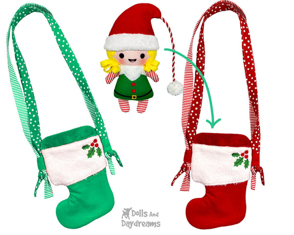 In The Hoop Machine Embroidery Xmas Stocking Tote Doll Bag Pattern by Dolls And Daydreams ITH DIY bag cross body doll carrier