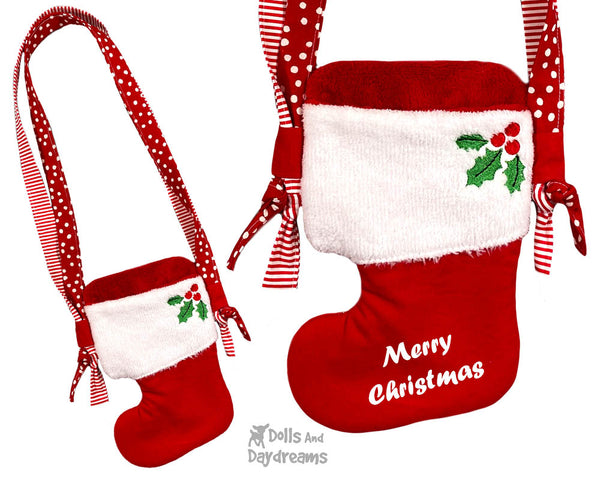 In The Hoop Machine Embroidery Christmas Stocking Tote Doll Bag Pattern by Dolls And Daydreams ITH DIY bag cross body doll carrier