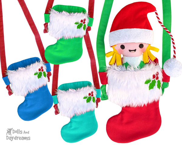 Tiny Christmas Stocking Tote bag Sewing Pattern by Dolls And Daydreams DIY doll x mas sock bag