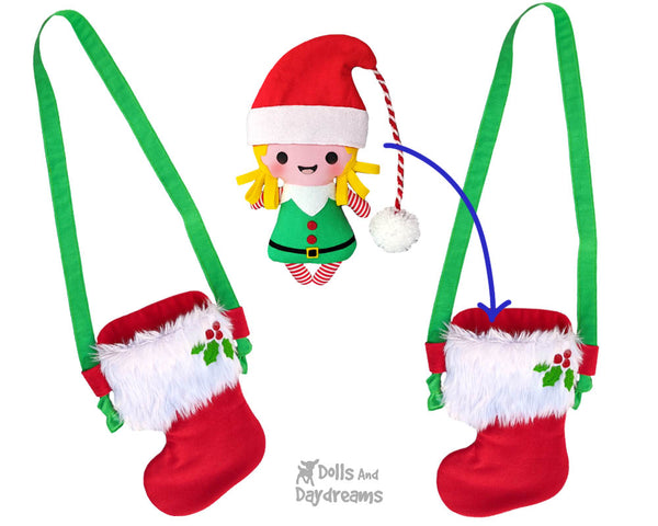 Tiny Christmas Stocking Tote bag Sewing Pattern by Dolls And Daydreams DIY doll x-mas bag