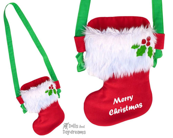 Tiny Christmas Stocking Tote bag Sewing Pattern by Dolls And Daydreams DIY doll carry case bag