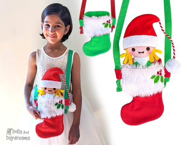 Tiny Christmas Stocking Tote bag Sewing Pattern by Dolls And Daydreams DIY Xmas doll carry case bag