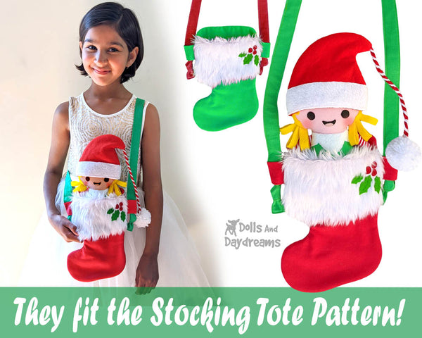 Tiny Christmas Elf pdf  Sewing Pattern by Dolls And Daydreams Christmas cloth boy girl elves doll and stocking tote