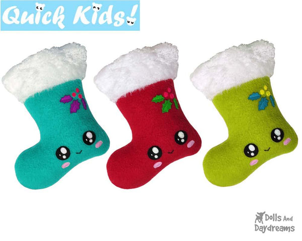 Quick Kids Christmas Stocking Sewing Pattern by Dolls And Daydreams DIY Xmas Softie Easy Kawaii Plush