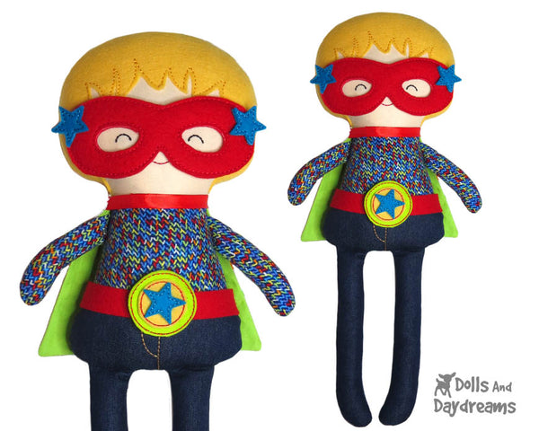 Machine Embroidery ITH Superhero Boy Doll Pattern Easy DIY In The Hoop Cloth hero mask by Dolls And Daydreams