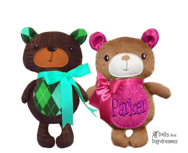 Baby Teddy Bear cloth plush toy Sewing Pattern Softie DIY by Dolls And Daydreams