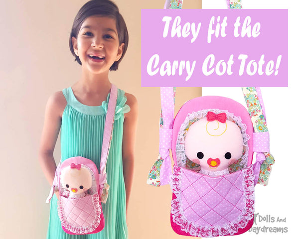 Tiny Tike Baby Doll Sewing Pattern by Dolls And Daydreams small cloth kawaii cutecarry around doll carry cot  tote