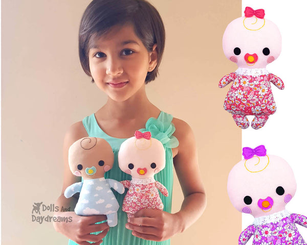 Tiny Tike Baby Doll Sewing Pattern by Dolls And Daydreams small cloth kawaii cute plush toy pdf diy