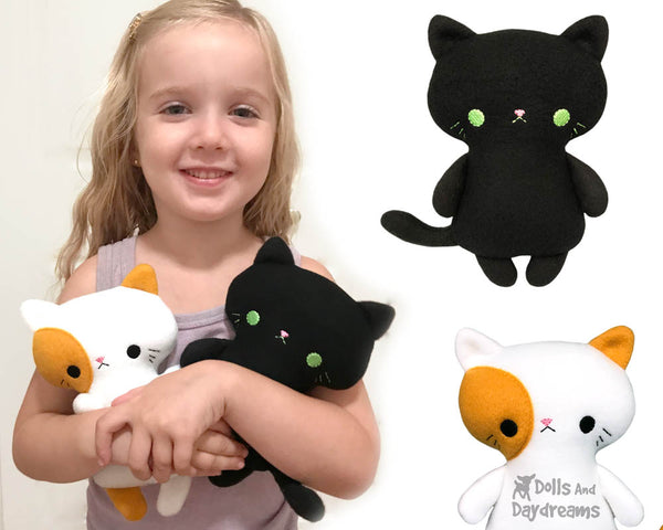 In The Hoop Tiny Tot Kitty Cat Plush Machine Embroidery Pattern by Dolls And Daydreams small pocket sized kitten soft toy pdf diy Plushie