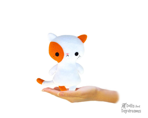 Tiny Tot Kitty Cat Plush Sewing Pattern by Dolls And Daydreams small pocket sized kitten soft toy pdf diy