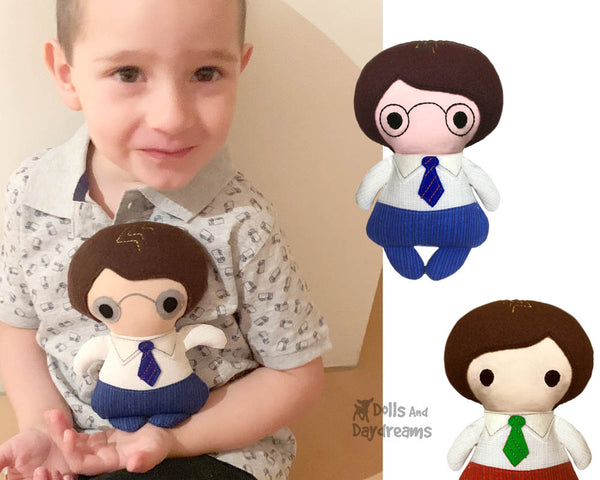 Tiny Tom Sewing Pattern with glasses by Dolls And Daydreams small boy doll pdf diy