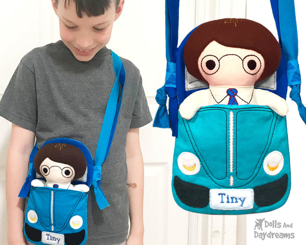 ith Machine Embroidery Tiny Tom Car Tote Doll Bag Pattern by Dolls And Daydreams in the hoop DIY bag cross body doll carrier