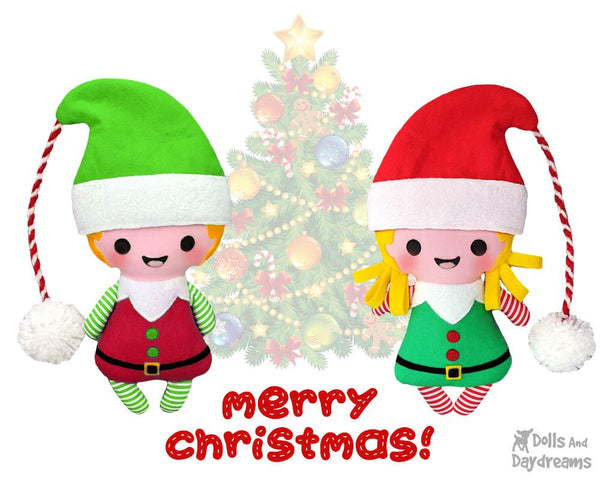 Tiny Christmas Elf pdf  Sewing Pattern by Dolls And Daydreams Christmas cloth boy girl elves doll