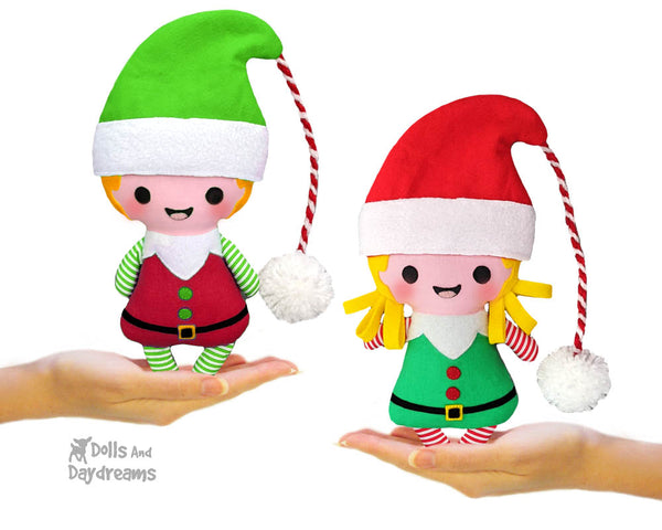 Tiny Christmas Elf Sewing Pattern by Dolls And Daydreams Christmas cloth boy and girl elves doll pdf diy